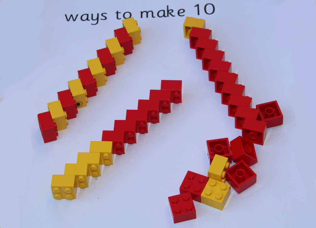sticks of ten different combinations of red and yellow lego bricks